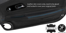BLUE STITCH 2X DOOR ARMREST LEATHER COVERS FOR CHRYSLER CROSSFIRE 2003-2008