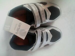 Boy Shoes size 11 Toddler Carter's Silver with sports balls, hook&loop closures