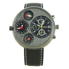 New Mens Brown Dual Time Compass Calendar Quartz Watch