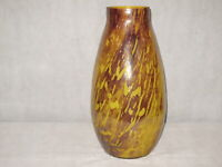 HAND  BLOWN ART GLASS VASE YELLOW/BROWN CRACKLED MADE IN ROMANIA