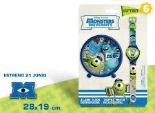 Monsters University Alarm Clock + Digital Wrist Watch Set Official
