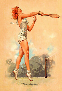 Pin up Tennis  Player Red Head Poster Print