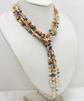Multicolor 4-5mm Baroque Natural Pearl 3 Strands Necklace for Woman Long 45''