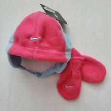 Nike Hat & Mittens Set, Size 12-24 Months, Pink, Gift, Chin Strap Beanie C4