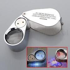 40x LED Pocket Magnifier Jeweller Eye Glass Loop Lens Magnifying Loupe UV Light