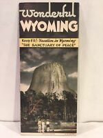 1941 WONDERFUL WYOMING Devil's Tower Tetons in Jackson Hole Travel Brochure