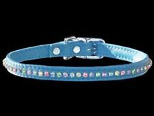 Swarovski Crystal Puppy Collar - 14 inch - Soft Blue Leather