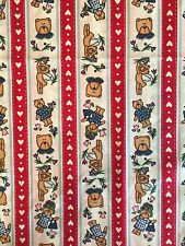 Vintage 100% Cotton Fabric 1 5/8 Yards Bears Hearts Quilting Crafts Fabric