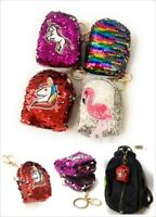 Sequin Unicorn Coin Purse Pouch Mini Backpack Bag Charm Keychain Wallet Girls UK