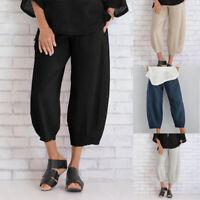Pants Trousers Long Solid Wide Legs Casual Plus Women's Harem Plain