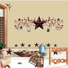 COUNTRY STARS & BERRIES WALL DECALS Berry Stickers Rustic Primitive Room Decor