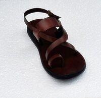Boho Toe-Post Gladiator Handmade Sandal Brown Leather Strap Ankle Flats Men's US