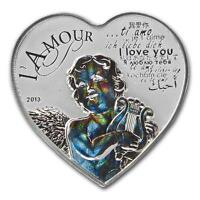 Cameroon 2013 1000 Francs HEART OF LOVE Hologram Silver Coin