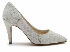 Rainbow Club Giverney - Pretty Ivory Shimmer Lace Ladies Wedding Bridal Shoes