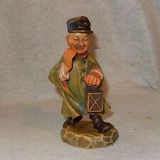"Vintage ANRI Carved Wood Night Watchman Lantern 6.5"" Conductor Carving Figurine"