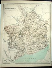 Original Victorian 1868 Coloured Sheet Map Folded: Monmouthshire