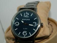 KAHUNA Men's Blue Dial Gunmetal finish 50 Meter Large Number Bracelet Watch