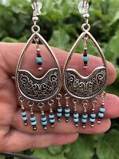 Native American Style Sleeping beauty Turquoise gemstone Chandelier earrings