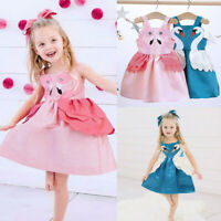 Toddler Kid Baby Girl Party Cartoon Swan Ruffles Sleeveless Dress Outfit Clothes