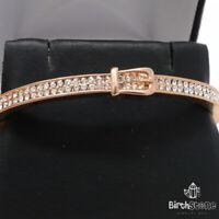 Gorgeous Round Diamond Bangle Bracelet Women Jewelry Gift 14K Rose Gold Plated