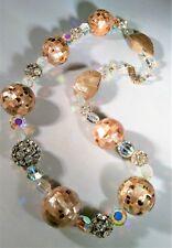 Aurora Borealis Statement Necklace Abelone Disco Ball Rhinestone Beads Chunky