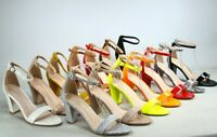 NEW Women's Color Ankle Strap Evening Dress  High Heel Sandal Shoes Size 5 - 10