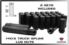 "FORD CHEVY GMC HUMMER RAM 8 LUG TRUCK 32 BLACK SPLINE 2"" TALL LUG NUTS + 2 KEYS"