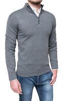 Maglione pullover uomo Diamond invernale grigio slim fit cardigan golfino casual
