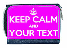 KEEP CALM & ??? (ANY TEXT & IN ANY COLOUR) LADIES/GIRLS DENIM PURSE /MINI WALLET