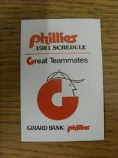 1981 Fixture Card: Baseball - Philadelphia Phillies (fold out style). Any faults