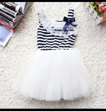 Sun Dress Baby Girl Summer White Tutu Blue White Stripe Cotton Age 9 Months 1 YR