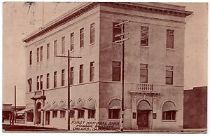 First National Bank Masonic Building Orland CA Vintage Postcard 1920 RPPC