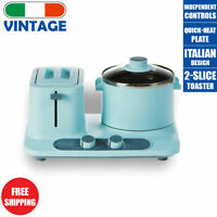 Vintage Electric Blue Breakfast Center Non-Stick Set with Toaster and Hot Plate