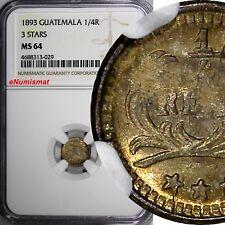 Guatemala Silver 1893 1/4 Real NGC MS64 3 STARS Nice Toning KM# 161