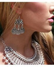 029ff1c82 Gypsy Costume 3-Coin Hook Earrings, Bohemian Boho Ethnic Turkish Jewelry