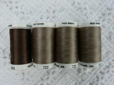 Lot of 4 AMANN GROUP METTLER POLY SHEEN #722 & 945 brown tan 875 Yards