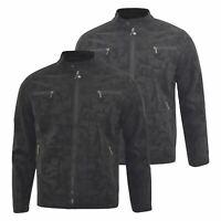 Mens Biker Jacket D-Rock Classic Camo Faux Leather Bomber Coat