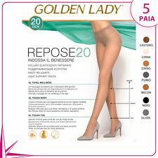 5 PAIA COLLANT GOLDEN LADY REPOSE 20 DENARI EFFETTO RIPOSANTE