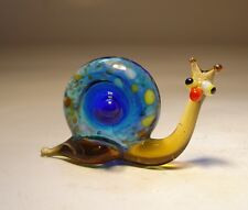"Blown Glass ""Murano"" Art Figurine Small Insect Blue SNAIL"