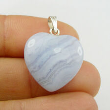 Heart 20mm Natural Blue Lace Crystal Pendant Genuine 925 Sterling Silver
