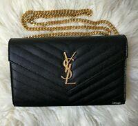 New YSL Saint Laurent Monogramme Black Quilted Textured Leather Shoulder Bag WOC