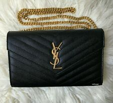 New YSL Saint Laurent Monogramme Black Quilted Textured Leather Shoulder Bag WOC