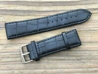 Replacement Band For Men Watch Black Leather Strap Only Band Size 24mm