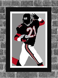 Atlanta Falcons Deion Sanders Portrait Sports Print Art 11x17