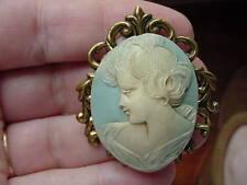 (CM41-2) GRACEFUL lady woman soft light Blue CAMEO Pin Brooch Jewelry sweet