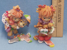 Lot 2 1994 Enesco No Strings Attached Puppet Figurines Piggy Back Ride Girl Bear
