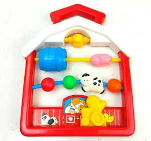 Fisher Price Discovery Beads Farmhouse #1061 1991 Baby Rattle Activity Toy Vtg