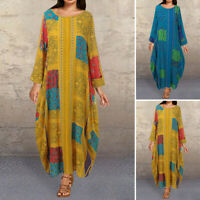 Women Long Sleeve Casual Round Neck Loose Oversize Midi Dress Kaftan Shirt Dress