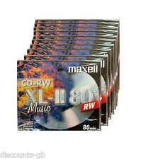Maxell música Cdrw 10 Pack Joya revestido re-writeable Cd's - 10 Discos CD-RW Audio