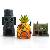 Resin SpongeBob Pineapple House Hole Fish Tank Aquarium Decoration YellowAU Fun